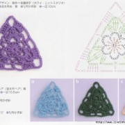 crochet triangles with diagrams.