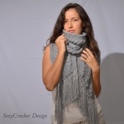 handmade long knitted wool winter scarf