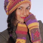 set of multicolored hand crochet slouchy ribbed hat and mittens
