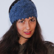 new crochet chunky blue merino wool headband