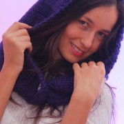 Winter blue merino wool hood scarf