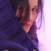 Winter blue merino wool hood scarf,