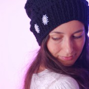 black merino wool hat decorated with cristal buttons
