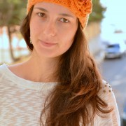 orange crochet headband, hippie style