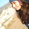 hippie crochet headband, with flower, of blue color
